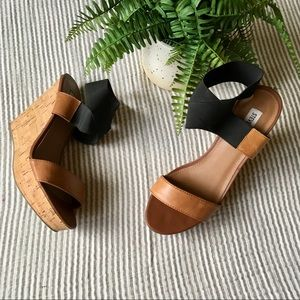 Steve Madden Roper Leather Cork Wedge Sandals
